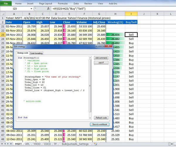 Test and evaluate your trading strategies in Excel. Simple strategy creation.